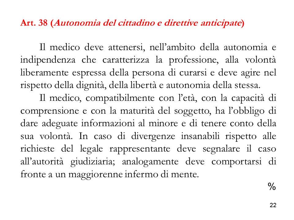 22 Art. 38 (Autonomia del cittadino e direttive anticipate) Il medico deve attenersi, nellambito della autonomia e indipendenza che caratterizza la pr