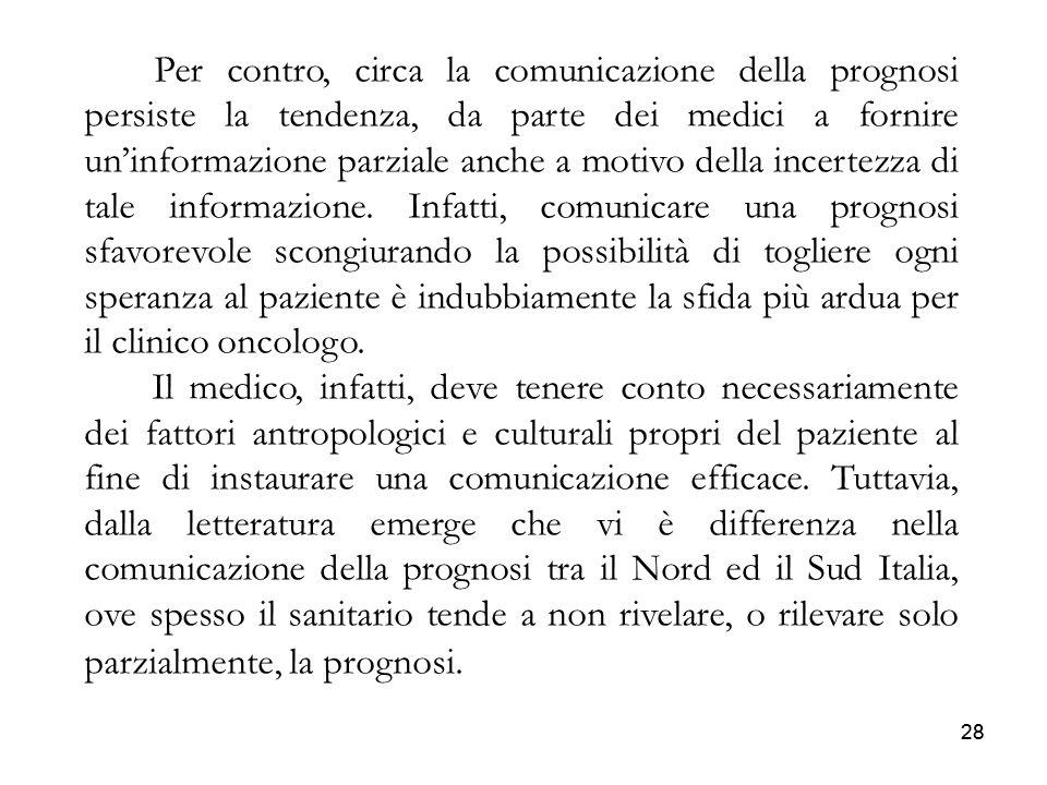 28 Per contro, circa la comunicazione della prognosi persiste la tendenza, da parte dei medici a fornire uninformazione parziale anche a motivo della