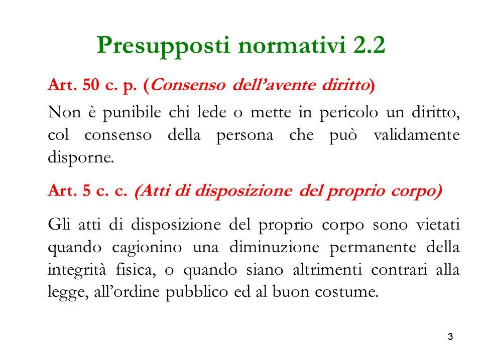 33 Presupposti normativi 2.2 Art. 50 c. p. (Consenso dellavente diritto) Non è punibile chi lede o mette in pericolo un diritto, col consenso della pe