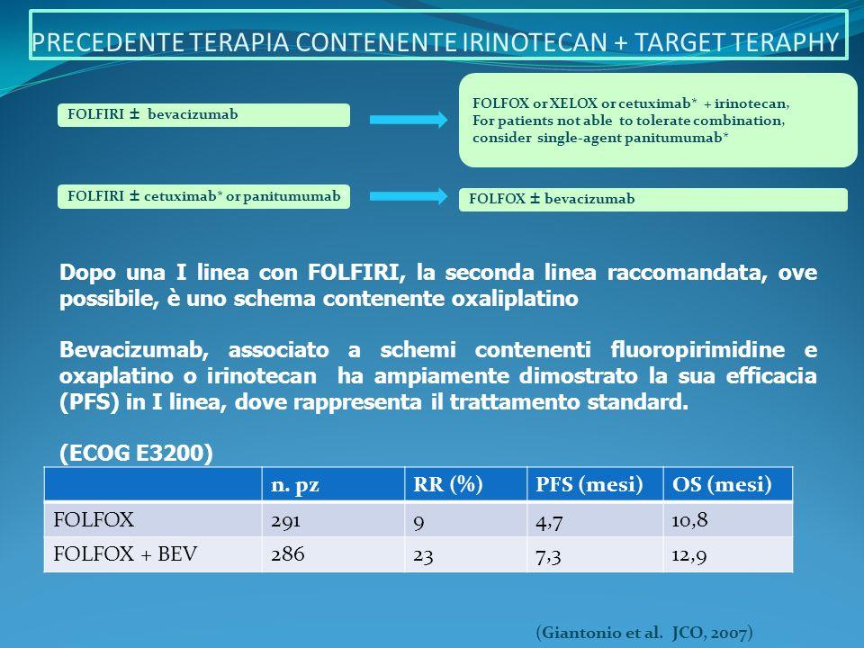 - Questa tripletta in I linea ha dato risultati contrastanti: incremento di OS, PFS, RR e percentuali di resecabilità sulle metastasi epatiche nello studio italiano, non confermati nello studio greco.