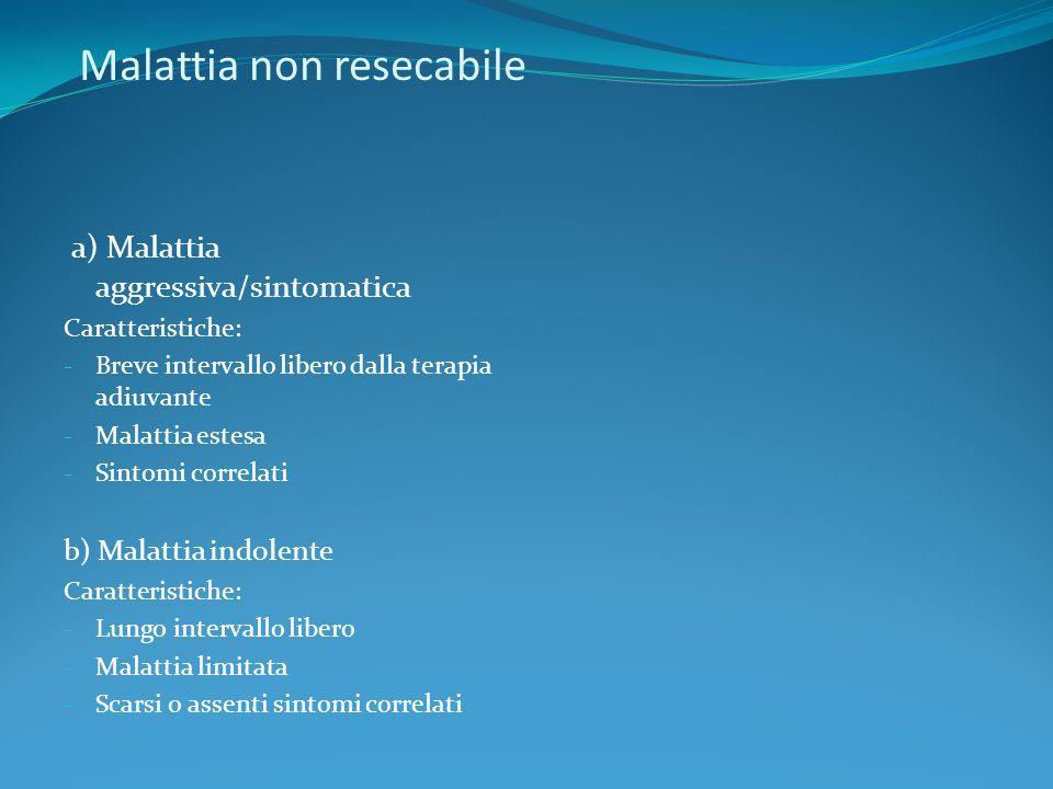 a) Malattia aggressiva/sintomatica Caratteristiche: - Breve intervallo libero dalla terapia adiuvante - Malattia estesa - Sintomi correlati b) Malatti