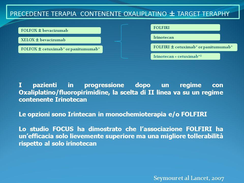 Cetuximab, associato a FOLFIRI, nei pazienti wild-type, ha evidenziato migliori RR e PFS, rispetto al solo FOLFIRI nel trattamento di I Linea.