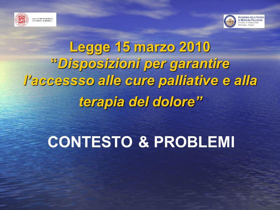 Legge 15 marzo 2010Disposizioni per garantire laccessso alle cure palliative e alla terapia del dolore CONTESTO & PROBLEMI ALMA MATER STUDIORUM UNIVER