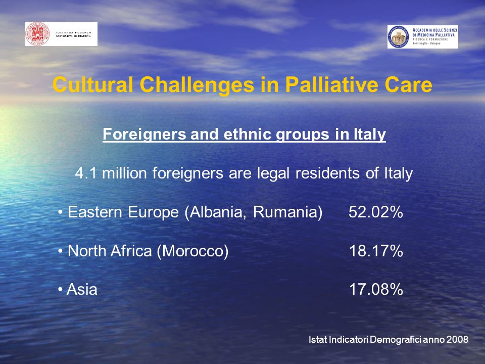 Foreigners and ethnic groups in Italy 4.1 million foreigners are legal residents of Italy Eastern Europe (Albania, Rumania)52.02% North Africa (Morocco)18.17% Asia17.08% Istat Indicatori Demografici anno 2008 Cultural Challenges in Palliative Care ALMA MATER STUDIORUM UNIVERSITA DI BOLOGNA