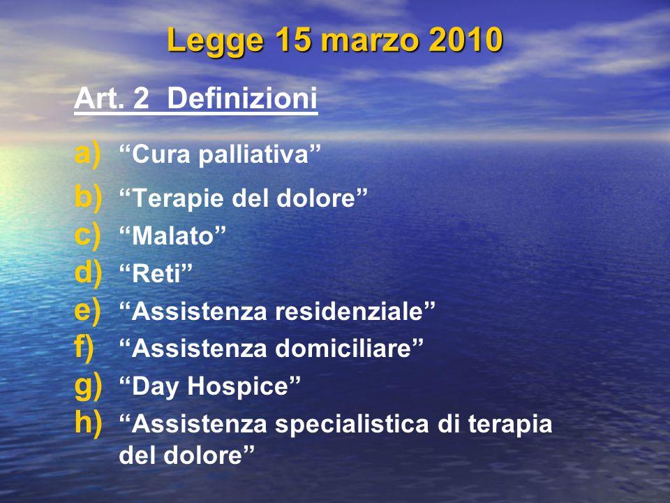 Legge 15 marzo 2010 Art. 2 Definizioni a) a) Cura palliativa b) b) Terapie del dolore c) c) Malato d) d) Reti e) e) Assistenza residenziale f) f) Assi