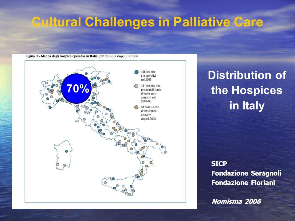 70% Cultural Challenges in Palliative Care Distribution of the Hospices in Italy SICP Fondazione Ser à gnoli Fondazione Floriani Nomisma 2006