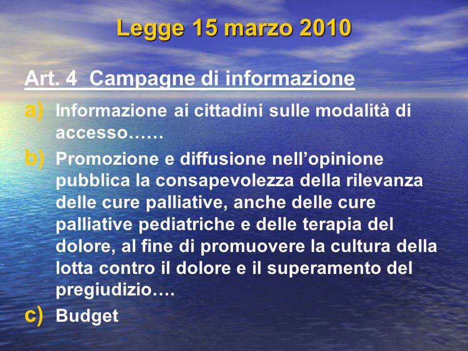 Legge 15 marzo 2010 Art. 4 Campagne di informazione a) a) Informazione ai cittadini sulle modalità di accesso…… b) b) Promozione e diffusione nellopin