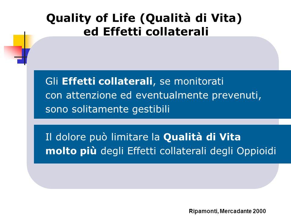 Quality of Life (Qualità di Vita) ed Effetti collaterali Ripamonti, Mercadante 2000 Gli Effetti collaterali, se monitorati con attenzione ed eventualm