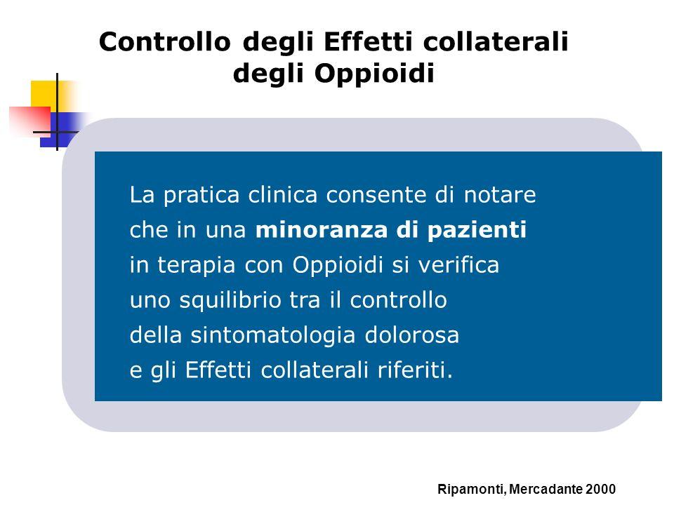 Controllo degli Effetti collaterali degli Oppioidi Ripamonti, Mercadante 2000 La pratica clinica consente di notare che in una minoranza di pazienti i