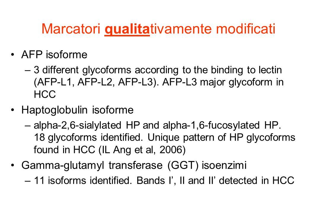 Marcatori qualitativamente modificati AFP isoforme –3 different glycoforms according to the binding to lectin (AFP-L1, AFP-L2, AFP-L3). AFP-L3 major g