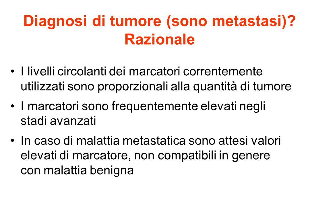 I livelli circolanti dei marcatori correntemente utilizzati sono proporzionali alla quantità di tumore I marcatori sono frequentemente elevati negli s
