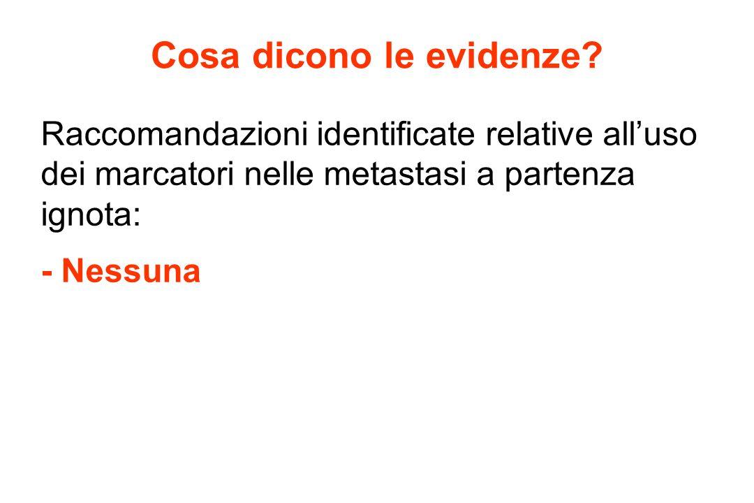 Cosa dicono le evidenze? Raccomandazioni identificate relative alluso dei marcatori nelle metastasi a partenza ignota: - Nessuna