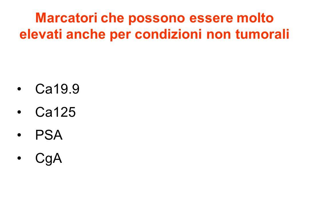 Marcatori che possono essere molto elevati anche per condizioni non tumorali Ca19.9 Ca125 PSA CgA