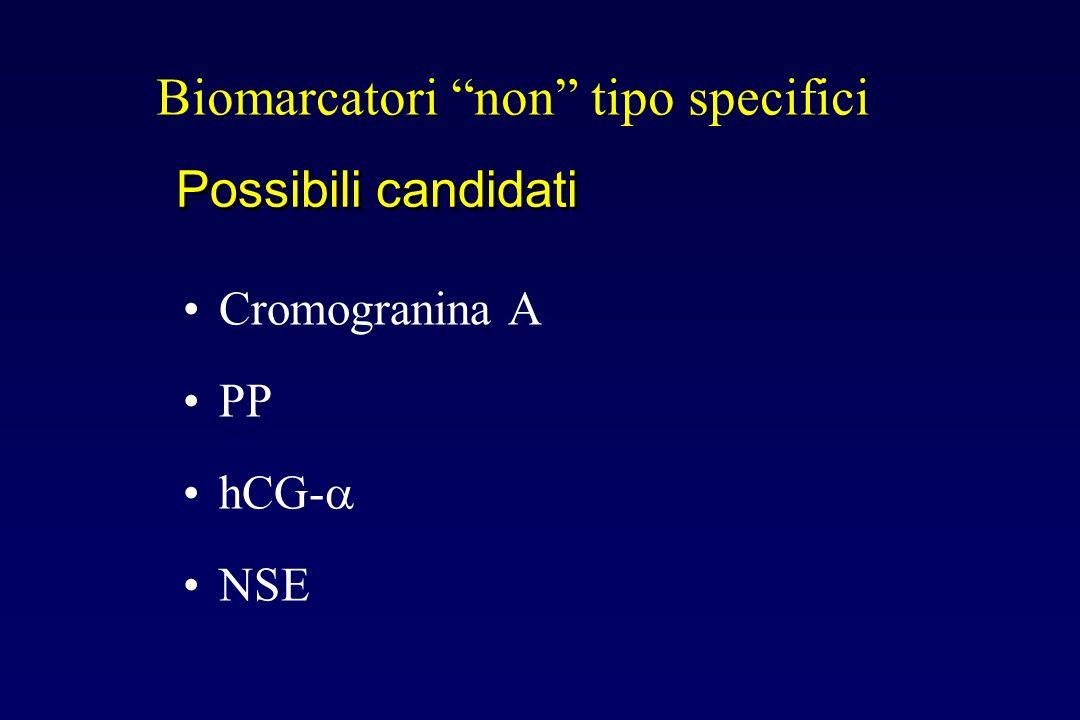 Possibili candidati Biomarcatori non tipo specifici Cromogranina A PP hCG- NSE