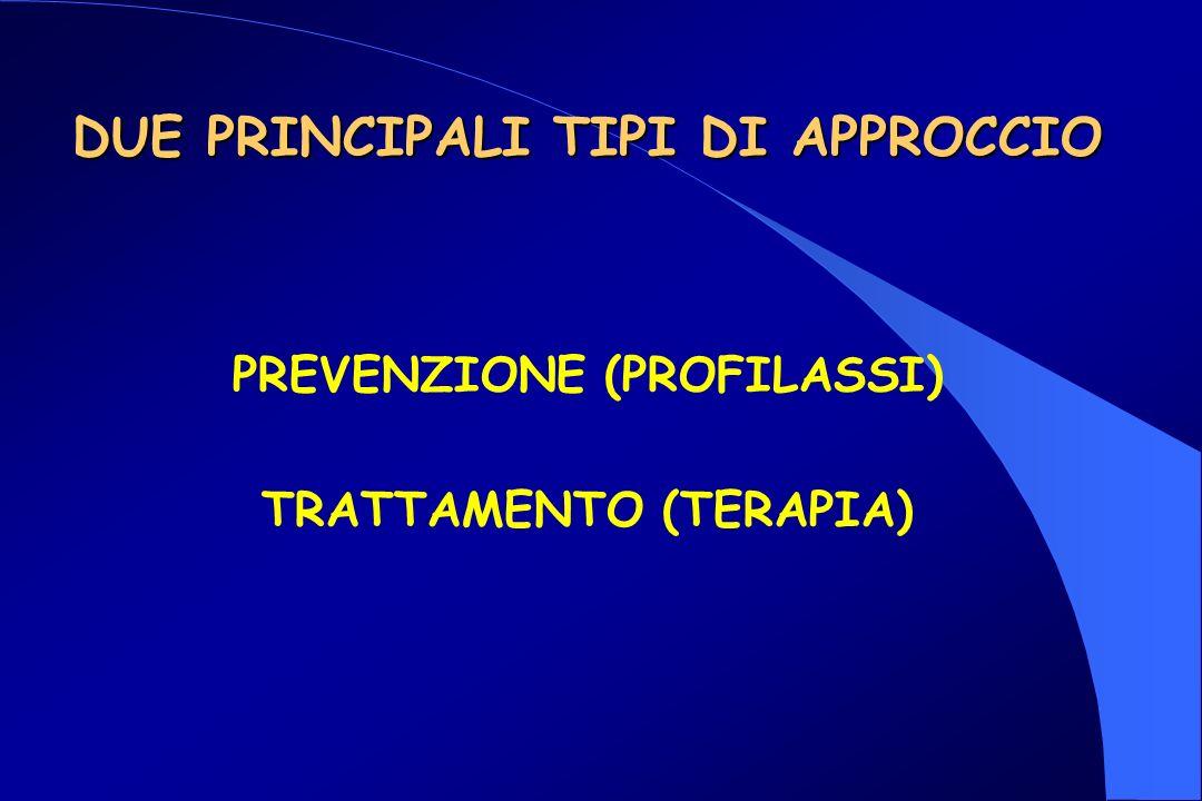 DUE PRINCIPALI TIPI DI APPROCCIO TRATTAMENTO (TERAPIA) PREVENZIONE (PROFILASSI)