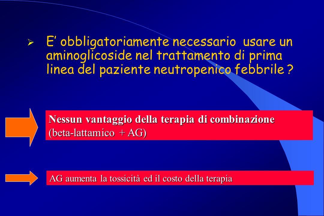 E obbligatoriamente necessario usare un aminoglicoside nel trattamento di prima linea del paziente neutropenico febbrile .