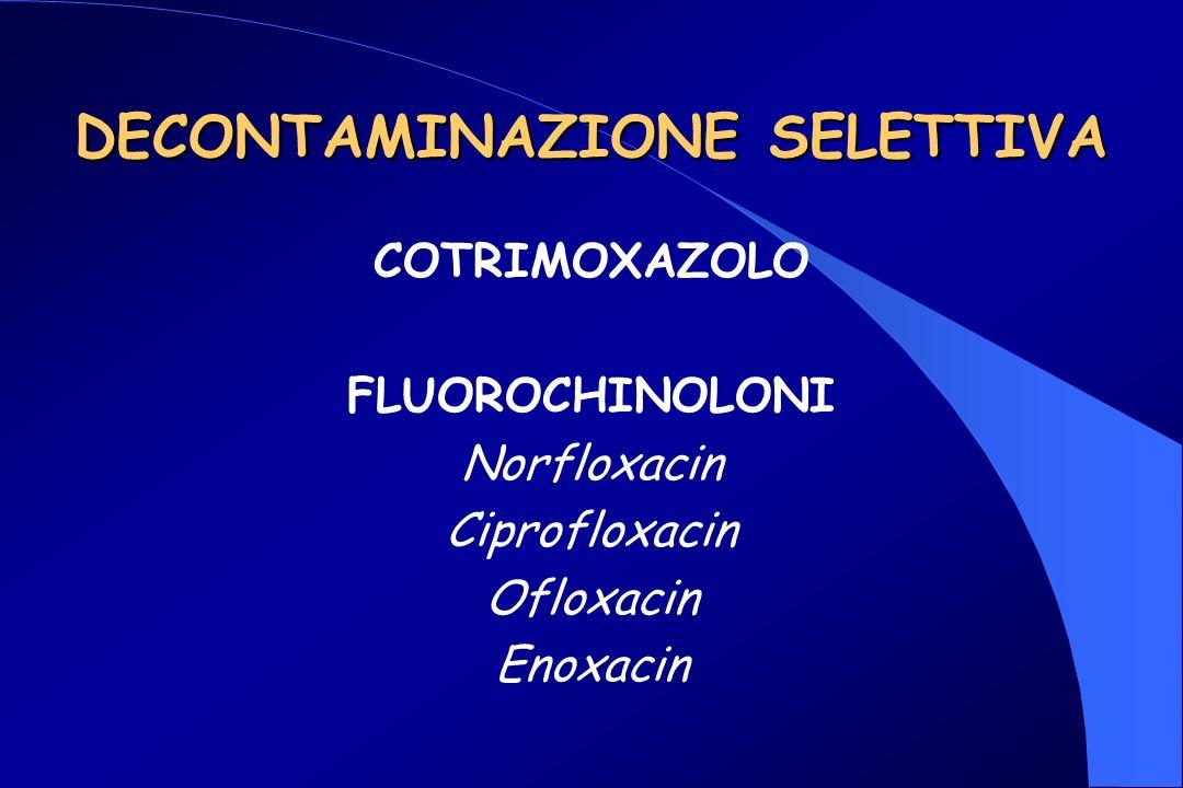 DECONTAMINAZIONE SELETTIVA COTRIMOXAZOLO FLUOROCHINOLONI Norfloxacin Ciprofloxacin Ofloxacin Enoxacin