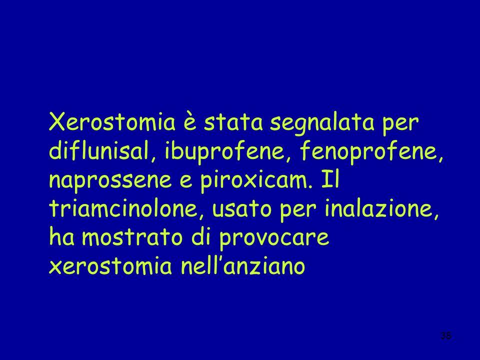 38 Xerostomia è stata segnalata per diflunisal, ibuprofene, fenoprofene, naprossene e piroxicam. Il triamcinolone, usato per inalazione, ha mostrato d