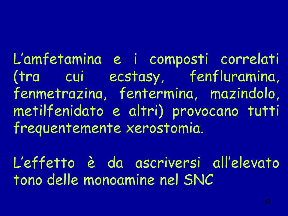 42 Lamfetamina e i composti correlati (tra cui ecstasy, fenfluramina, fenmetrazina, fentermina, mazindolo, metilfenidato e altri) provocano tutti freq