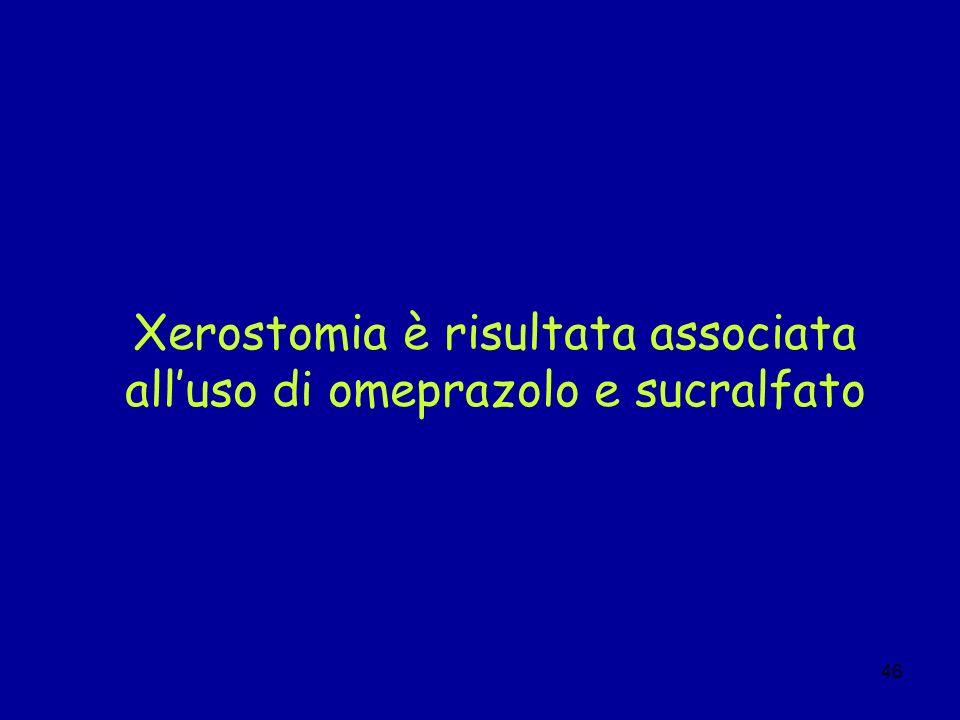 46 Xerostomia è risultata associata alluso di omeprazolo e sucralfato
