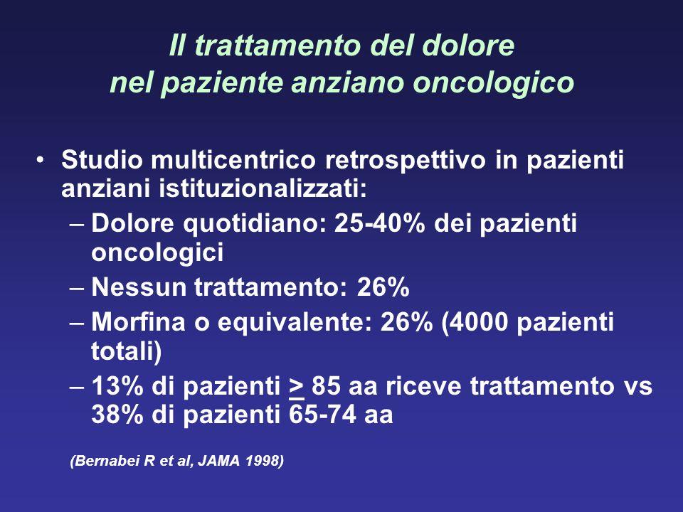 Il trattamento del dolore nel paziente anziano oncologico Studio multicentrico retrospettivo in pazienti anziani istituzionalizzati: –Dolore quotidian