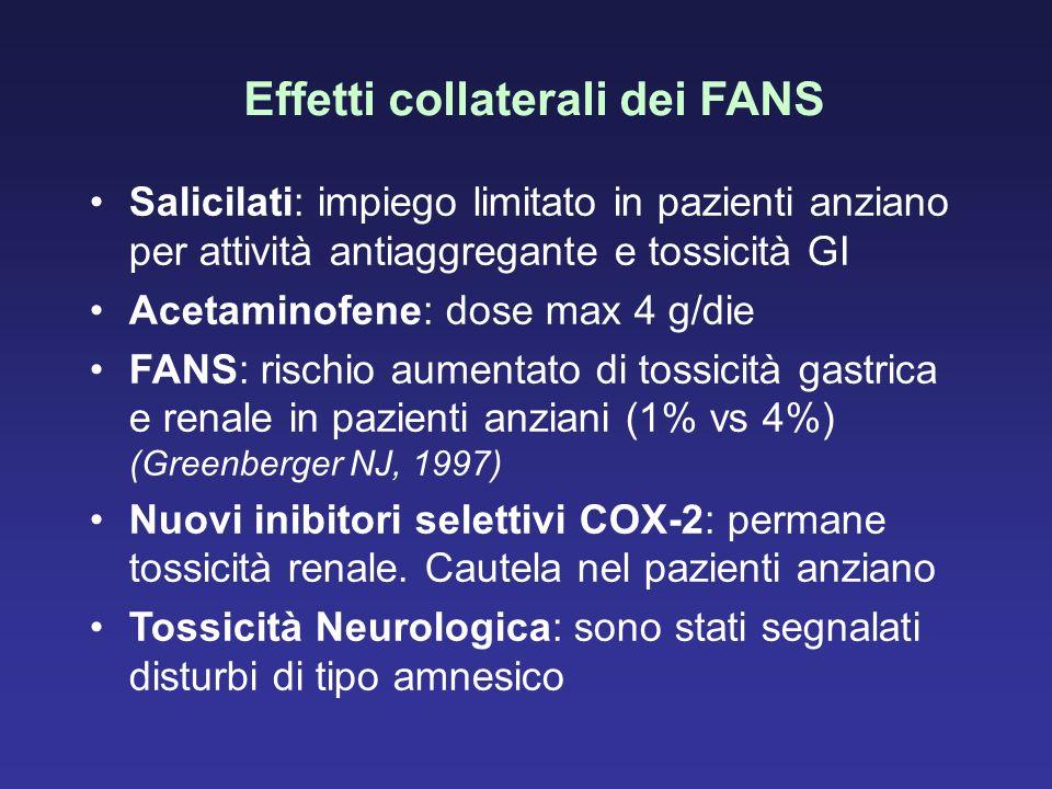 Effetti collaterali dei FANS Salicilati: impiego limitato in pazienti anziano per attività antiaggregante e tossicità GI Acetaminofene: dose max 4 g/d