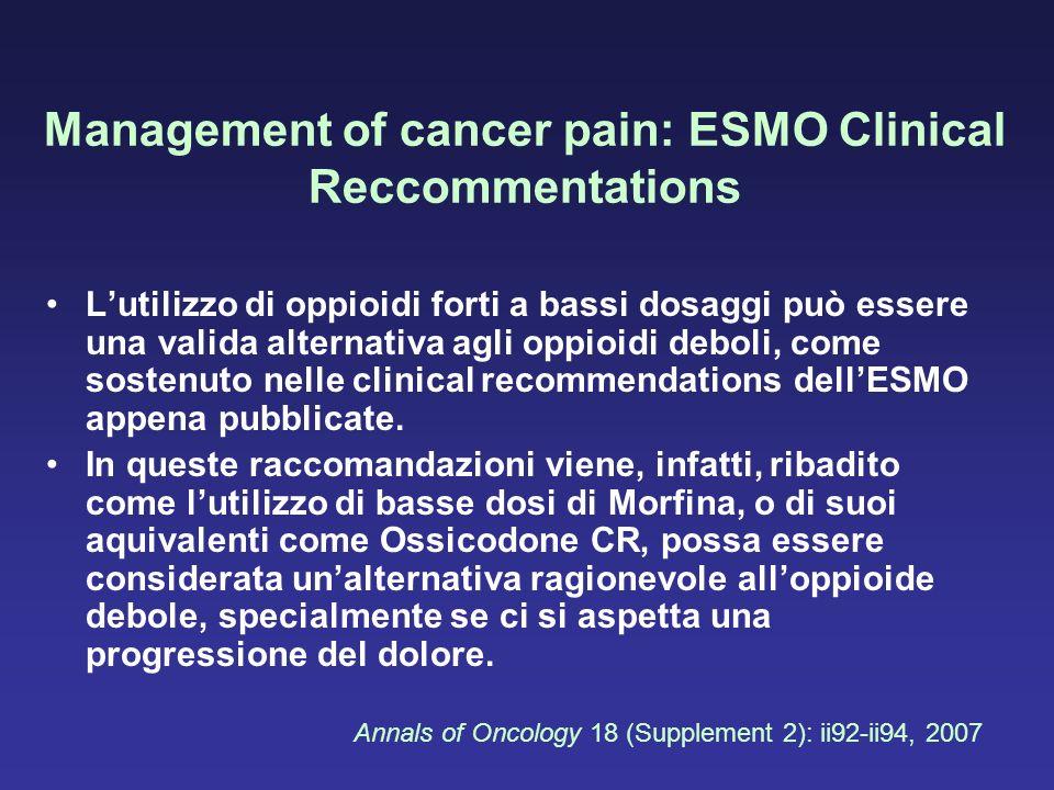 Management of cancer pain: ESMO Clinical Reccommentations Lutilizzo di oppioidi forti a bassi dosaggi può essere una valida alternativa agli oppioidi