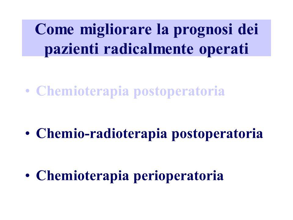 Come migliorare la prognosi dei pazienti radicalmente operati Chemioterapia postoperatoria Chemio-radioterapia postoperatoria Chemioterapia perioperat