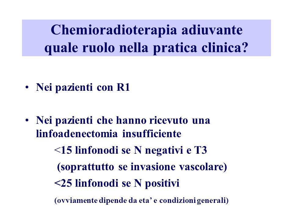 Chemioradioterapia adiuvante quale ruolo nella pratica clinica? Nei pazienti con R1 Nei pazienti che hanno ricevuto una linfoadenectomia insufficiente