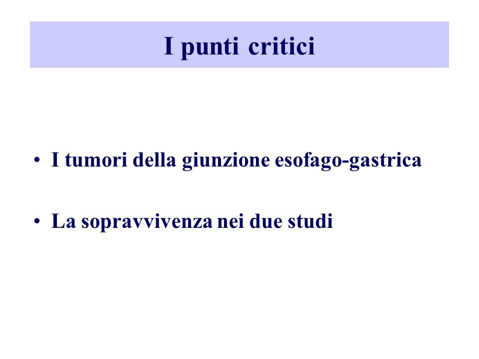 I punti critici I tumori della giunzione esofago-gastrica La sopravvivenza nei due studi