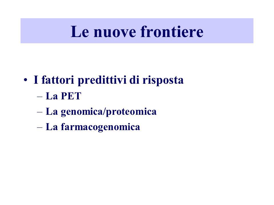 Le nuove frontiere I fattori predittivi di risposta –La PET –La genomica/proteomica –La farmacogenomica