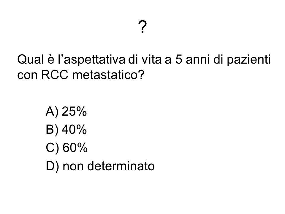 ? Qual è laspettativa di vita a 5 anni di pazienti con RCC metastatico? A) 25% B) 40% C) 60% D) non determinato