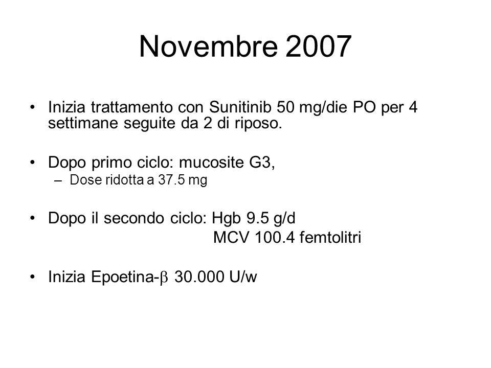 Novembre 2007 Inizia trattamento con Sunitinib 50 mg/die PO per 4 settimane seguite da 2 di riposo. Dopo primo ciclo: mucosite G3, –Dose ridotta a 37.