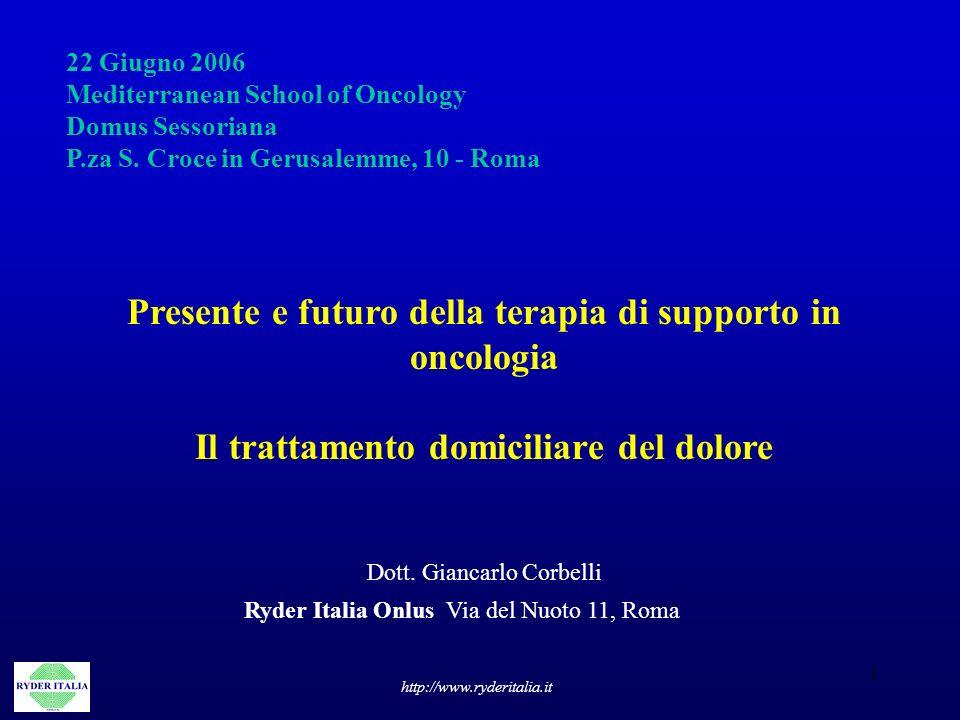 1 22 Giugno 2006 Mediterranean School of Oncology Domus Sessoriana P.za S. Croce in Gerusalemme, 10 - Roma Presente e futuro della terapia di supporto