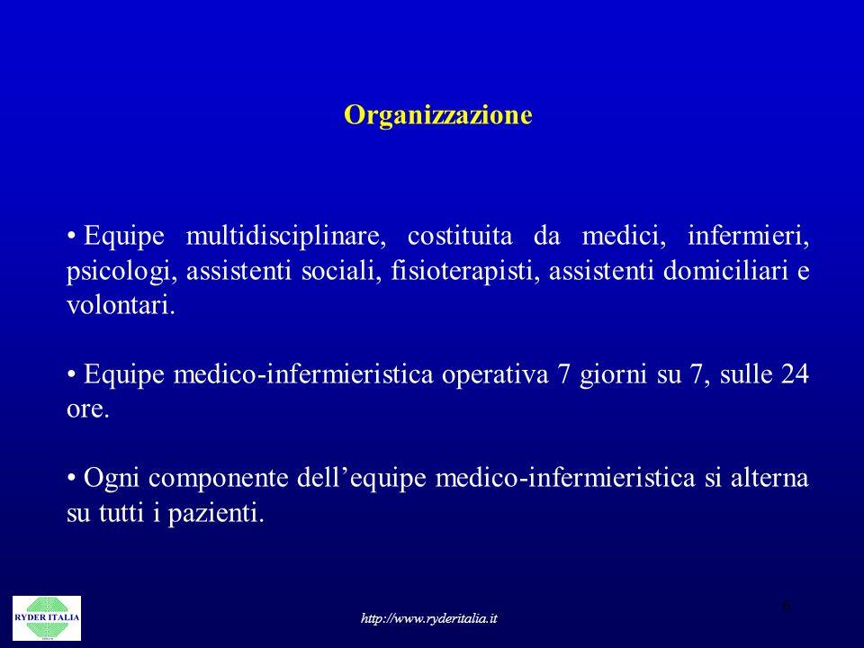 6 http://www.ryderitalia.it Organizzazione Equipe multidisciplinare, costituita da medici, infermieri, psicologi, assistenti sociali, fisioterapisti,