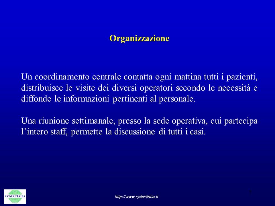 7 http://www.ryderitalia.it Organizzazione Un coordinamento centrale contatta ogni mattina tutti i pazienti, distribuisce le visite dei diversi operat