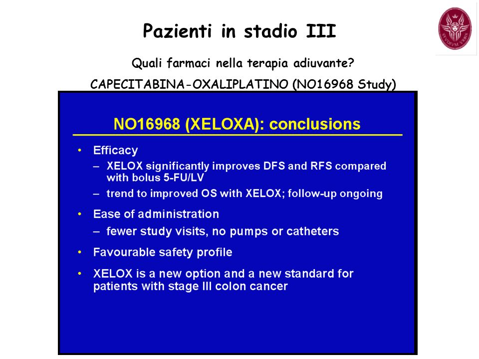 Pazienti in stadio III Quali farmaci nella terapia adiuvante? CAPECITABINA-OXALIPLATINO (NO16968 Study)