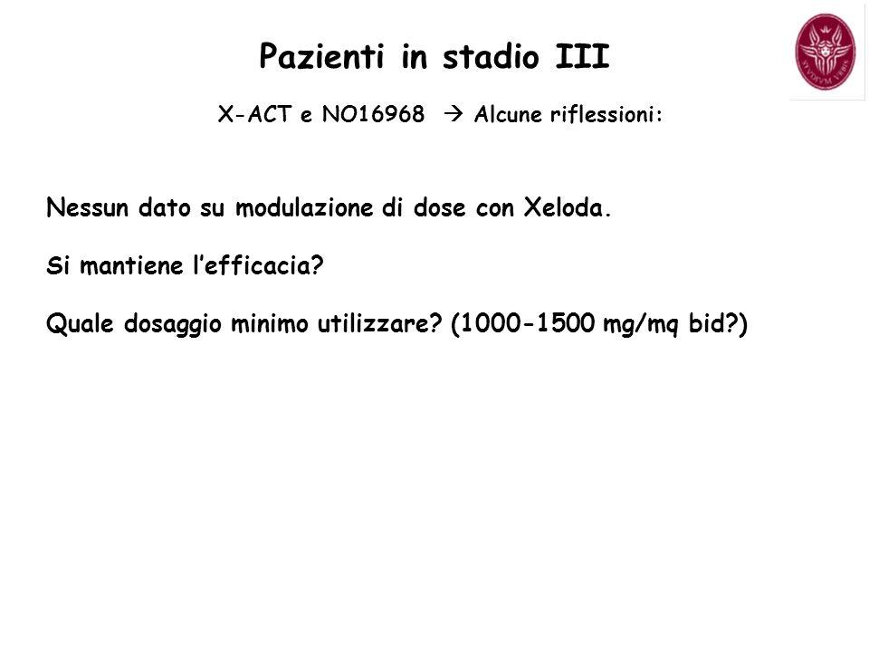 Nessun dato su modulazione di dose con Xeloda. Si mantiene lefficacia? Quale dosaggio minimo utilizzare? (1000-1500 mg/mq bid?) Pazienti in stadio III