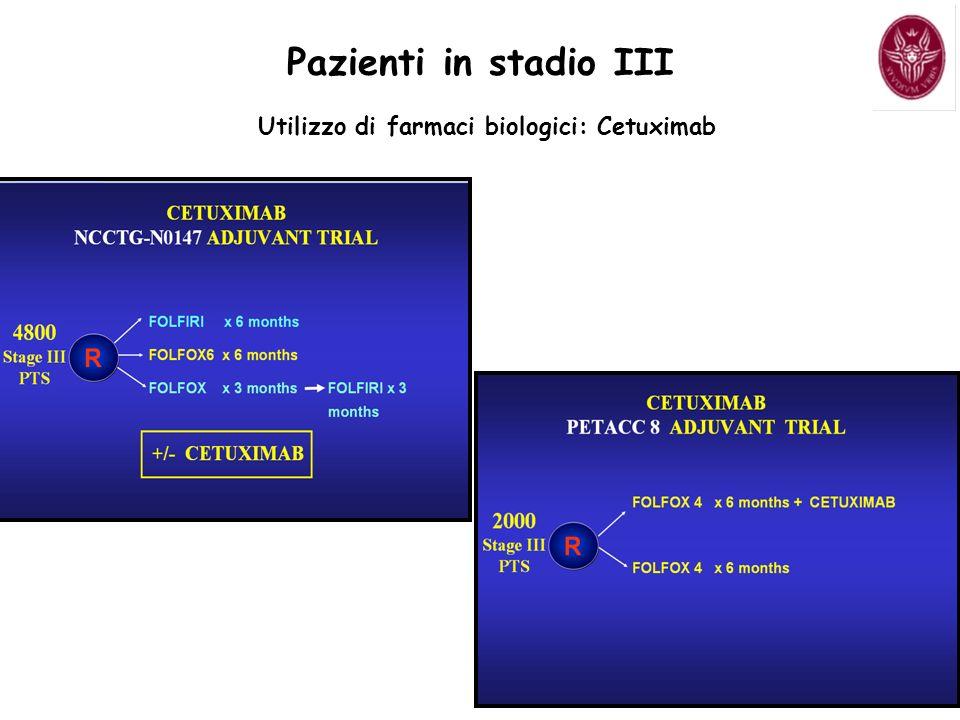 Pazienti in stadio III Utilizzo di farmaci biologici: Cetuximab