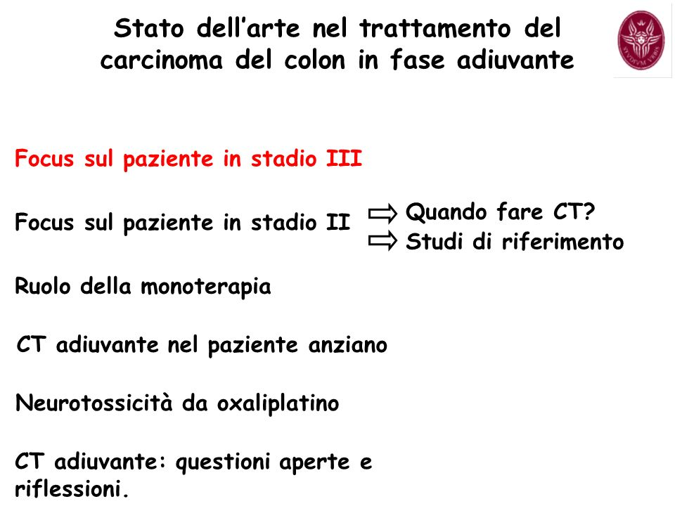 CT adiuvante con Oxaliplatino Il problema della neurotossicità.