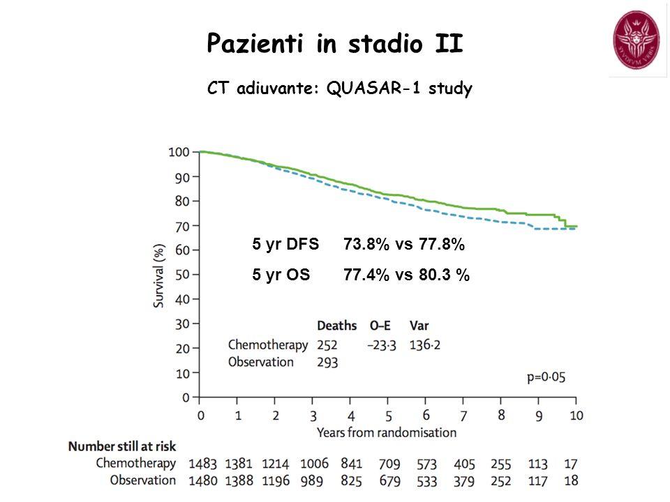 5 yr DFS 73.8% vs 77.8% 5 yr OS 77.4% vs 80.3 % c Pazienti in stadio II CT adiuvante: QUASAR-1 study