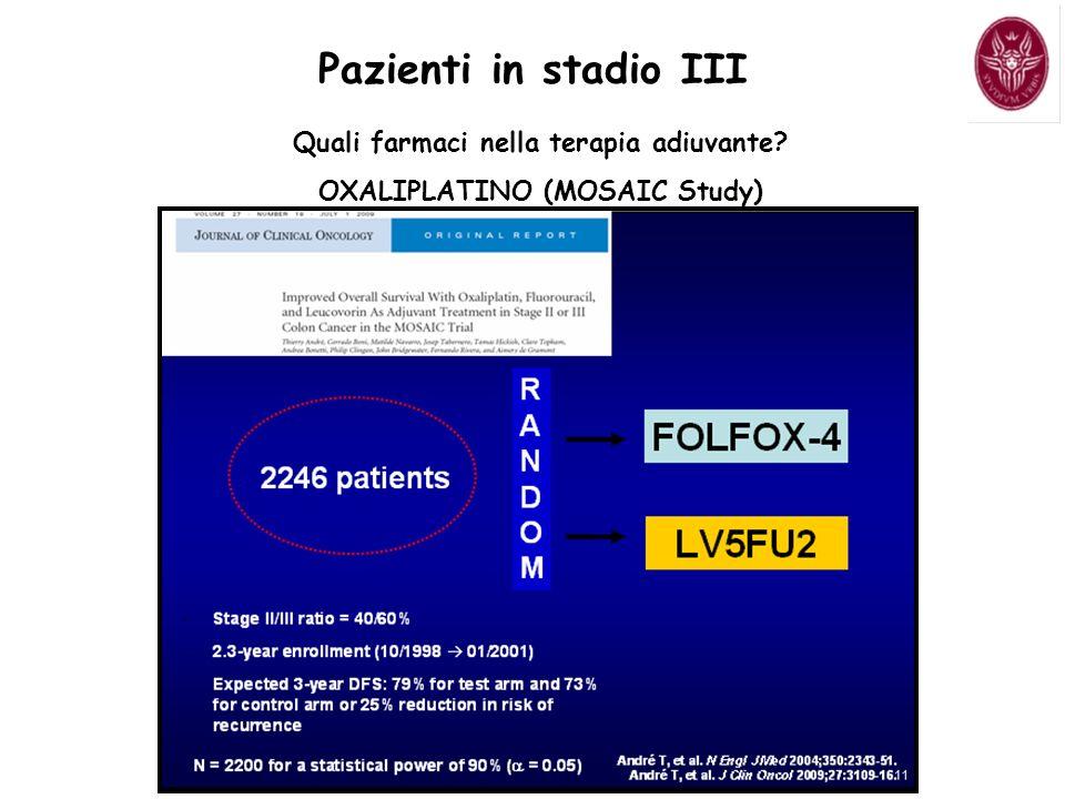 Pazienti in stadio III Quali farmaci nella terapia adiuvante? OXALIPLATINO (MOSAIC Study)