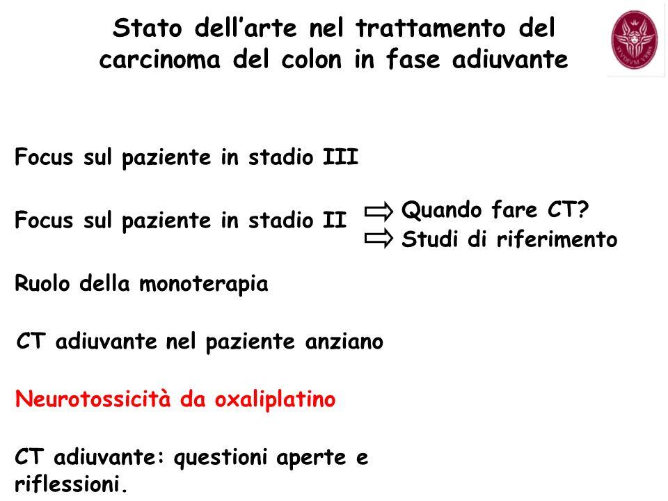 Focus sul paziente in stadio III Focus sul paziente in stadio II Quando fare CT? Studi di riferimento CT adiuvante nel paziente anziano Neurotossicità