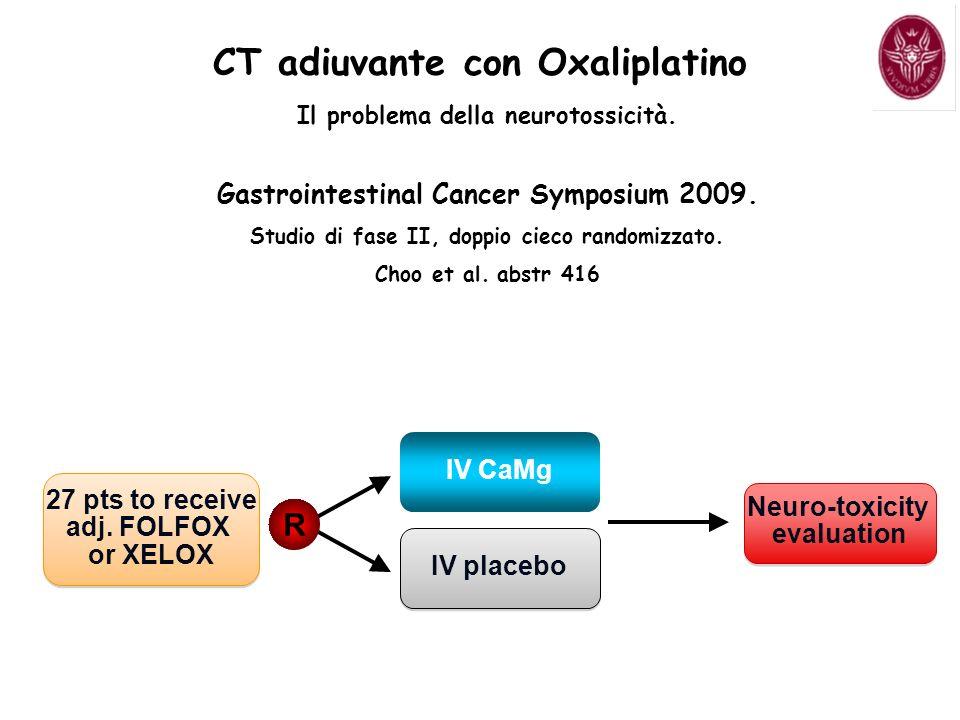 CT adiuvante con Oxaliplatino Il problema della neurotossicità. Gastrointestinal Cancer Symposium 2009. Studio di fase II, doppio cieco randomizzato.