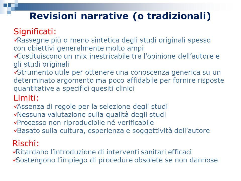 Revisioni narrative (o tradizionali) Significati: Rassegne più o meno sintetica degli studi originali spesso con obiettivi generalmente molto ampi Cos