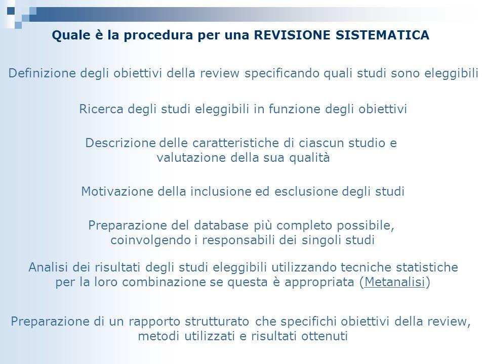 Quale è la procedura per una REVISIONE SISTEMATICA Definizione degli obiettivi della review specificando quali studi sono eleggibili Ricerca degli stu