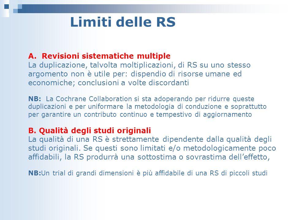 Limiti delle RS A. Revisioni sistematiche multiple La duplicazione, talvolta moltiplicazioni, di RS su uno stesso argomento non è utile per: dispendio