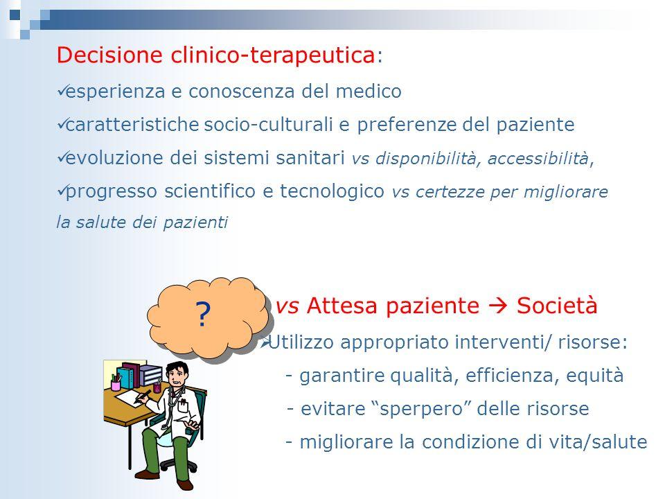 Decisione clinico-terapeutica : esperienza e conoscenza del medico caratteristiche socio-culturali e preferenze del paziente evoluzione dei sistemi sa