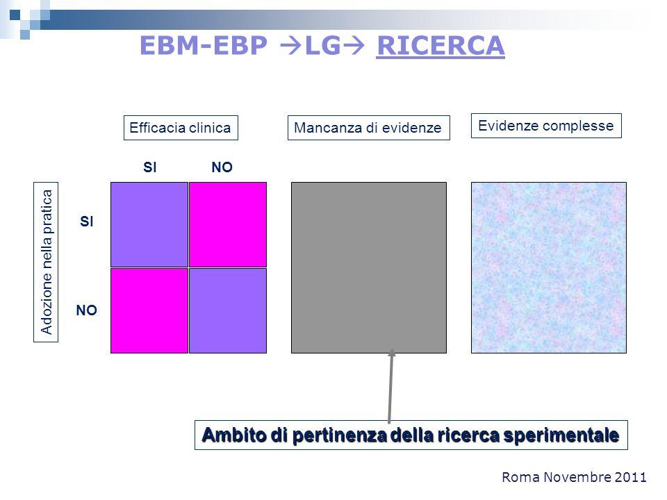 Roma Novembre 2011 Efficacia clinica SI NO SI NO Adozione nella pratica Mancanza di evidenze Evidenze complesse Ambito di pertinenza della ricerca spe