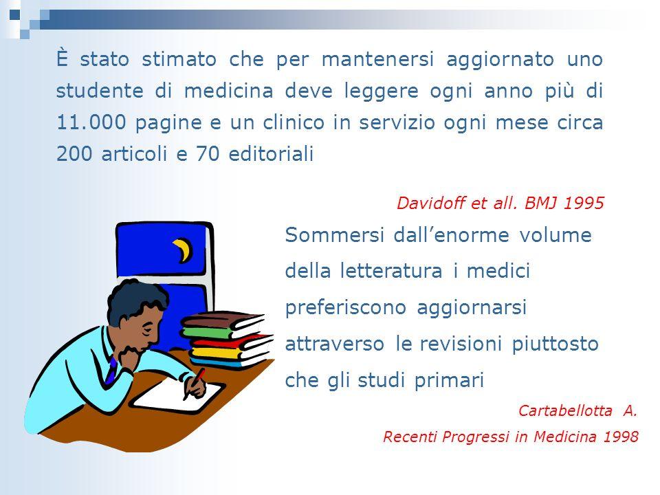 È stato stimato che per mantenersi aggiornato uno studente di medicina deve leggere ogni anno più di 11.000 pagine e un clinico in servizio ogni mese